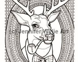 Hipster Deer Taxidermy Adult Coloring Page