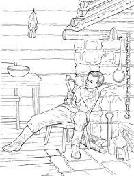 Click To See Printable Version Of Boy Abe Lincoln Reading In A Log Cabin Coloring Page