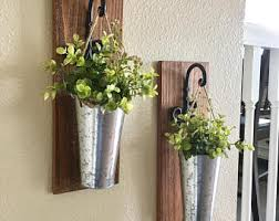 Home DecorHanging Planter With Greenery Or Flowers Rustic Wall Decor Sconces