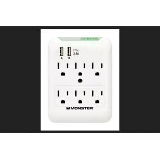 Monster Cable Surge Protection Outlet Wall Tap - White
