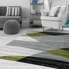 milano9118 grün moderner designer teppich geometrisches muster meliert vimoda homestyle