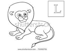 ABC Coloring Learn The Name Of African Animals Inscription Lion Educational Game Vector Illustration