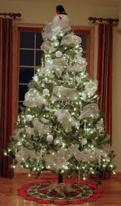 tree decorations ideas with ribbons white tree silver tree silver and