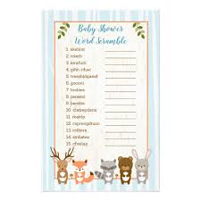 Blue Woodland Animal Baby Word Scramble Game Flyer