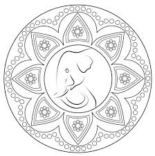 Click To See Printable Version Of Indian Rangoli With Elephant Coloring Page