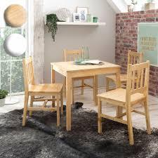finebuy esszimmer set emilio 5 teilig kiefer holz landhaus stil 70 x 73 x 70 cm natur essgruppe 1 tisch 4 stühle tischgruppe esstischset 4
