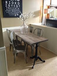 Narrow Dining Table For Space Industrial Chic Drafting Base Made By Jen Widner Diy Restoration Hard