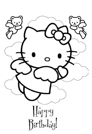 Free Printable Coloring Hello Kitty Birthday Coloring Pages 70