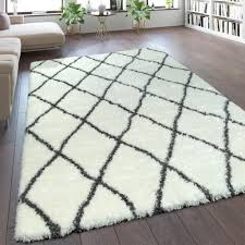 teppich wohnzimmer creme weiß weich groß shaggy flokati rauten muster hochflor grösse 60x90 cm