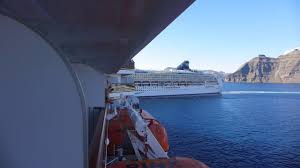 cruise ships almost collide at santorini greece youtube