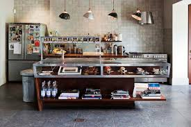 industrial kitchen island designs for retro look of the intended