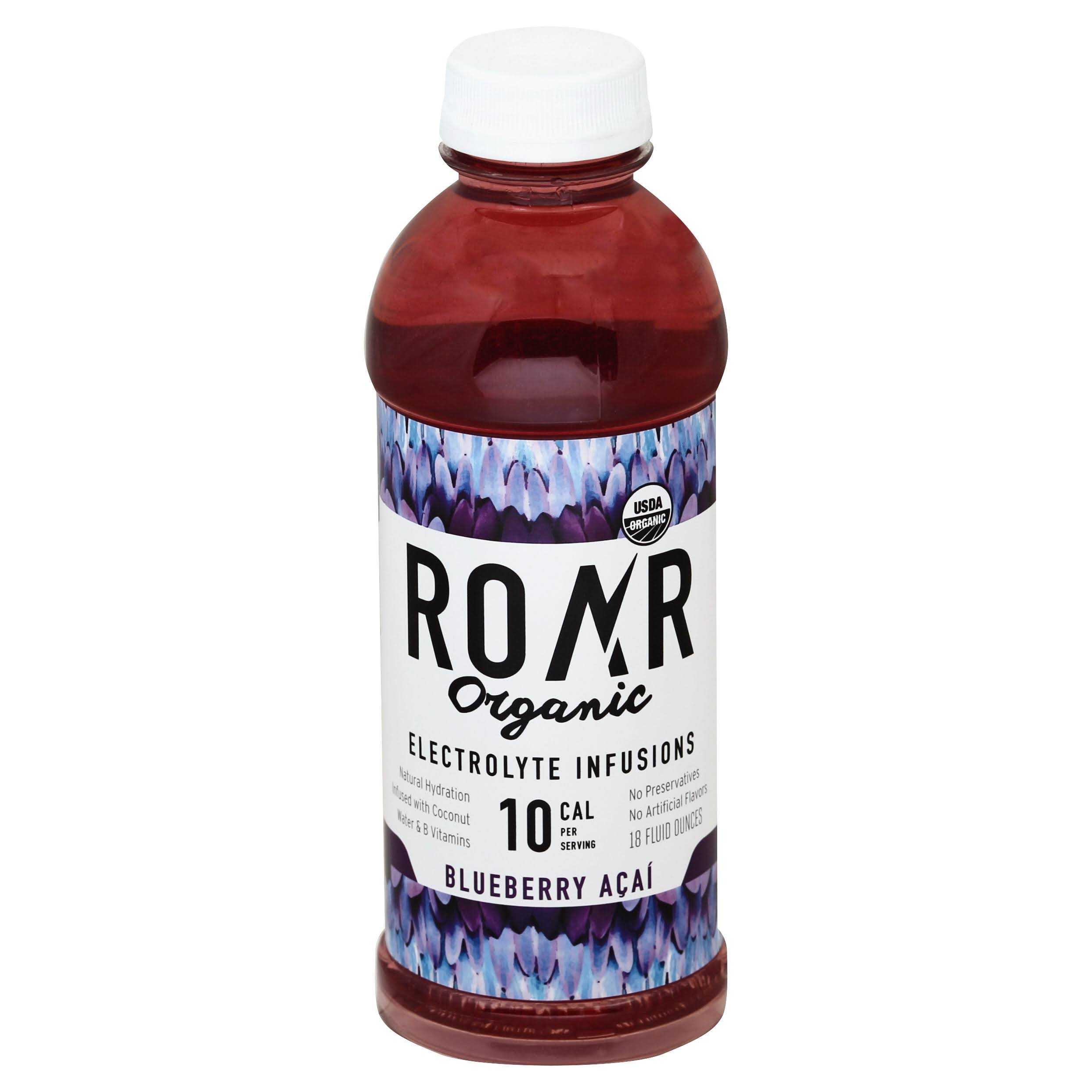 Roar Organic Electrolyte Infusions, Blueberry Acai - 18 fluid ounces