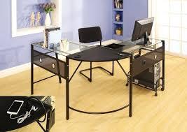 desk glass and metal corner computer desk black glass top metal
