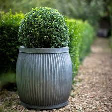 Large Rustic Round Deep Vence Fluted Zinc Planter From The Farthing