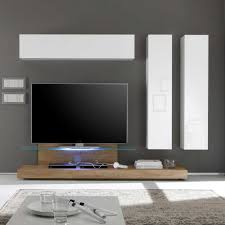 wohnzimmer schrankwand mit tv podest weiß hochglanz eiche 4