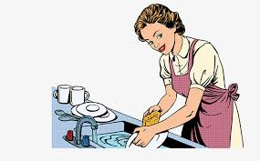 Vector Hand Painted Dishwasher Woman Wash The Dishes Diagram Drawing