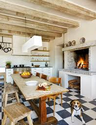 white brick backsplash kitchen eclectic with black and white floor