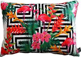 casa padrino luxus kissen miami flamingos flowers mehrfarbig 35 x 55 cm feinster samtstoff deko wohnzimmer kissen
