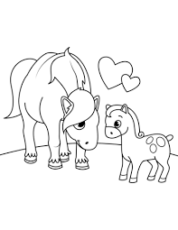 Mother Horse With Foal Coloring Page