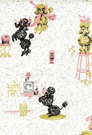 Vintage Pink Poodle Wallpaper And Checkerboard Teapot Too