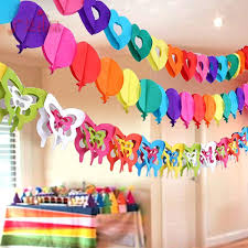 Colorful Paper Garlands Creative Cutting Arrangement Birthday Holiday Decoration Items Baby Wedding Party Dress Home Daily