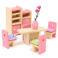 Wooden Doll Set Children Toys Miniature House Family Furniture Kit