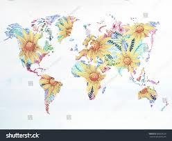 World Map Watercolor Painting Hand Drawn Flower Floral Artwork Design Illustration
