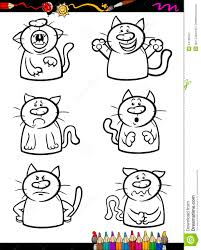 Cats Emotion Set Cartoon Coloring Book Stock Vector For Pages Emotions
