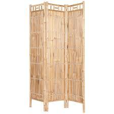 raumteiler 3 fach in beige aus bambus 120 x 180 cm