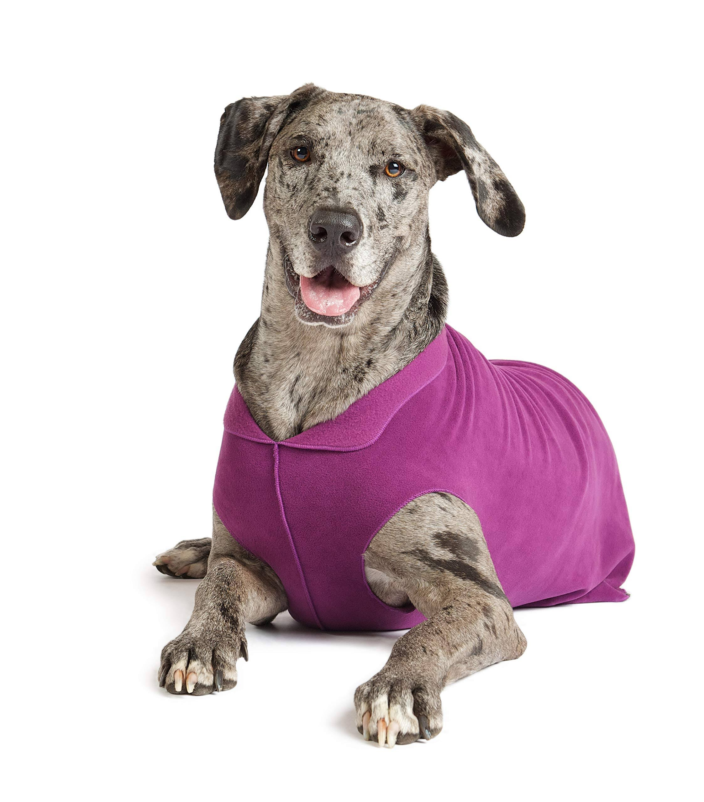 Gold Paw Stretch Fleece Dog Coat - Purple, Large