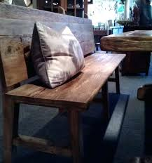 Wood Bench With Back Rustic Wooden Top Neoattica