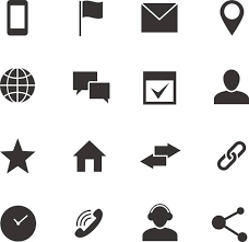 Contact and munication internet vector icons Home phone and email web symbols vector art