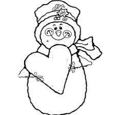 Coloring Sheets Of Snowman With Heart Holding