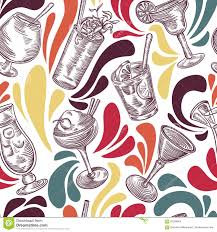 Seamless Pattern With Vintage Cocktails And Splashes Cocktail Party