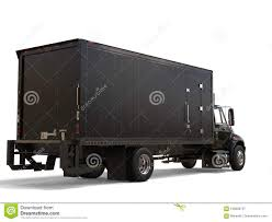 Black Refrigerator Truck With Black Trailer Unit - Back View Stock ...
