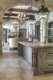 Dream Kitchenthe Stone Floor Tiles Washed Cabinetry Kitchen Lights