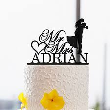 Wedding Silhouette Cake Topper Personalized Mr And Mrs Rustic Bride Groom Custom Last Name Acrylic