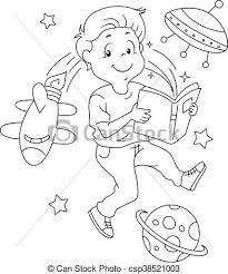 Kid Book Space Coloring Page