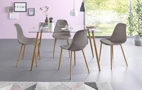 essgruppe eckiger glastisch mit 4 stühlen kunststoffschale