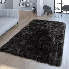 wohnzimmer hochflor teppich kunst fell design versch formen unifarben schwarz größe 80x150 cm