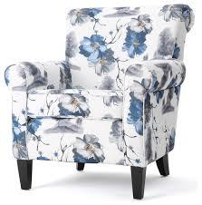 manon blue white floral print fabric club chair contemporary