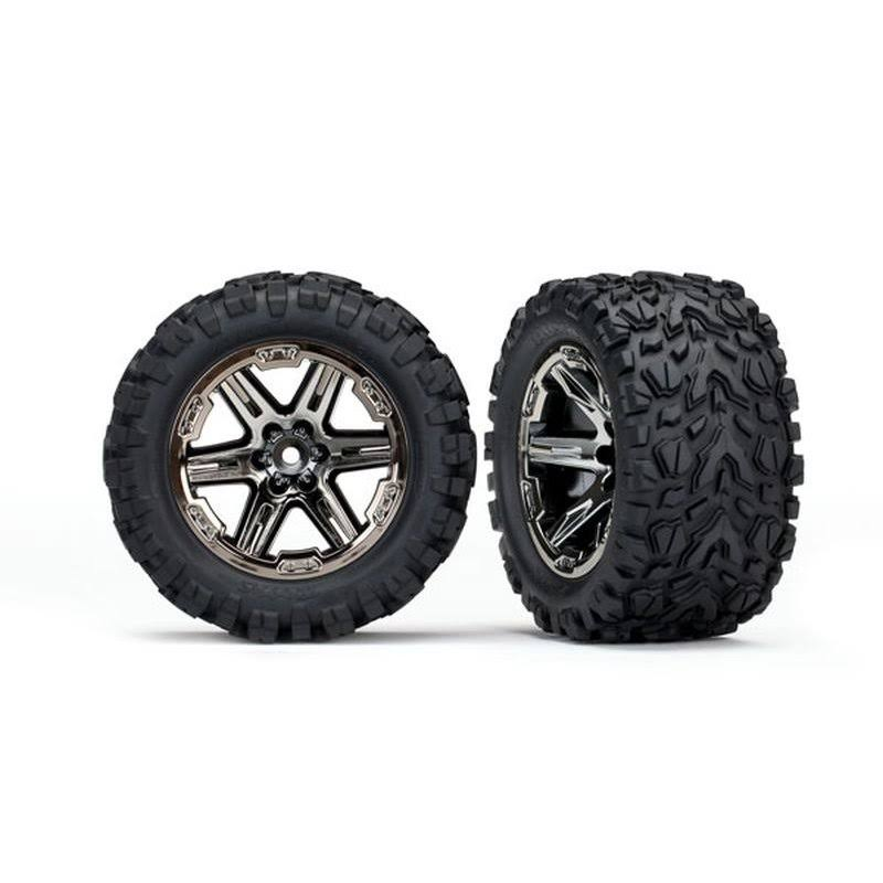 Traxxas TRA6773X Tires & Wheels (2.8') RXT Black Chrome, Talon Extreme Tires (2)