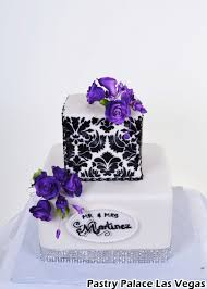 Purple And Black Wedding Cake Damask
