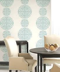 Contemporary Dining Room Wallpaper Blue Medallion Modern Ideas