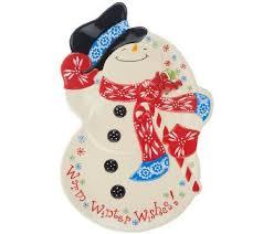 Temp Tations Figural Snowman Platter Christmas TimeChristmas DecorQvcKitchen