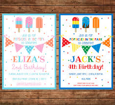 100 Ice Cream Truck Party Girl Or Boy Invitation Popsicles Birthday Can
