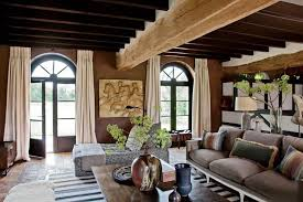 Interesting Rustic Glam Living Room Wooden Ceiling Brown Wall Beige Curtains Rectangle Table