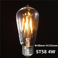 new edison led filament bulb e27 st58 4 40w 6w 60w vintage warm