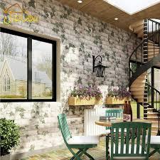 großhandel pastoralen 3d nachahmung backsteinmauer tapete parthenocissus restaurant terrasse wohnzimmer hintergrundbild roll für wände hotseller1