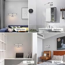 mantolite wandleuchte 8w metall badezimmer spiegel leuchte led bilderleuchte mit schwenkbarem lenkopf und zugschalter arc arm 560lm 40cm warmweiß